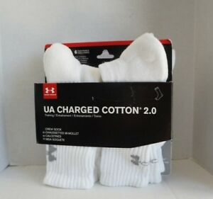 Under Armour 2.0 Crew Socks Boys Shoe 13.5-4Y YMD 6-PACK White Charged Cotton