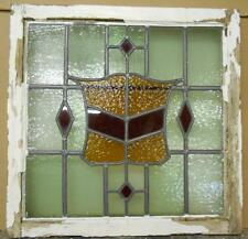 """OLD ENGLISH LEADED STAINED GLASS WINDOW Stunning Crest & Diamonds 22.5"""" x 22.25"""""""