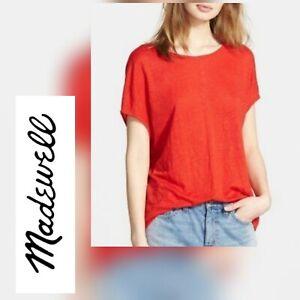 Madewell Womens 100% Linen T-Shirt Size Small Red Tee Short Sleeve