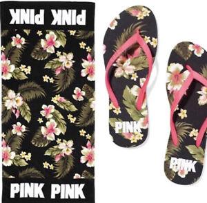 Victoria's Secret VS PINK Beach Towel Flip Flops MEDIUM Set FLORAL FLOWER