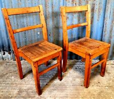 Pair of Small Wooden Vintage Stacking Nursery School Chairs Wood