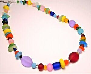 "RAINBOW MULTI COLOR RED, BLUE, etc. handmade cultured sea glass necklace 20"""