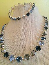 Swarovski crystal elements Necklace Bracelet Jewelry 8mm Blues Metallic Shades
