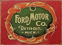 PLAQUE métal vintage FORD MOTOR CO old logo - 40 X 30 CM