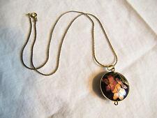 Gold Tone Necklace 1 1/4 Inch Pendant Cloisonne Enamel Flower Black Green Orange