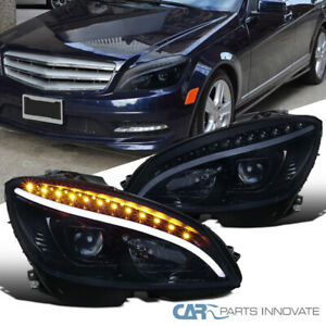 For 08-11 Benz W204 C-Class Glossy Black Projector Headlights w/ LED Turn Signal