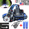 380000LM Rechargeable Head light T6 LED Tactical Headlamp Zoomable+Charger+18650