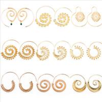 Lady Fashion Vintage Gothic Gold Silver Retro Dangle Ear Stud Piercing Earrings