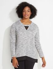 d170d089dd9 NEW LANE BRYANT LIVI ACTIVE SPA MESH HEM blouse 10 12 SOFT SWEATSHIRT  55  top