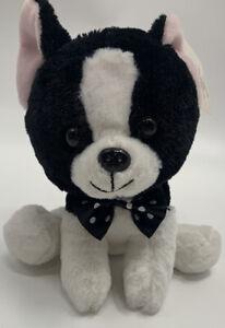 "Dan Dee 7"" Black & White Black Plush Boston Terrier Stuffed Polka Dot Bow Tie"
