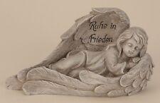Engel liegend in Spruchflügel 30 cm Grabschmuck Grabdeko Grabstein Gedenkstein