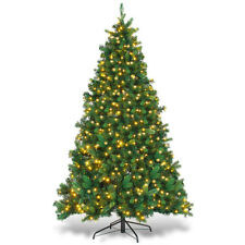 6.5Ft Pre-lit Dense Christmas Tree PE & PVC Hinged w/ 650 Warm Lights Green