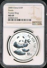2000 Frosted Ring China Panda 10 Yuan 1 Oz. .999 Silver Coin NGC MS 69 *GEM!*