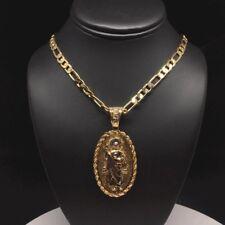 """Cadena 26"""" De Oro Laminado Con Medalla De San Judas Virgen Guadalupe Dos Lados"""