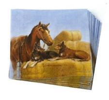 Working Partners Horse Dogs Hay Bales Farm Ranch Paper Napkins Ashdene Australia