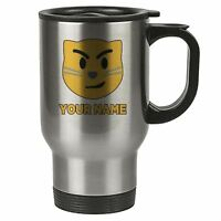 Personalised Face Emoji Silver Travel Mug - Cat 4 - Serious - Add Your Name - Re