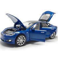 1:32 Scale Tesla Model S 100D Model Car Metal Diecast Gift Toy Vehicle Kids Blue