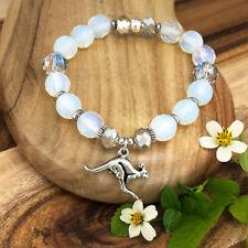 Kangaroo Souvenir Bracelet with Opalite Crystals, Australian Made Gift