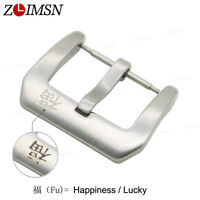Solid Stainless Steel Silver Watch Band Brushed Buckle Clasp Lucky 18 20 22 24mm