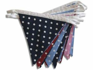 100% Cotton-Multi-Coloured Spotty Dotty-10m/33 Double Sided Flags-Cotton Bunting