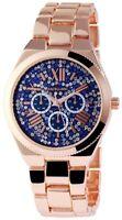 Excellanc Damenuhr Blau Rosègold Strass Chrono-Look Armbanduhr X-1800052-008