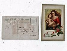 POST CARD GREETINGS A MERRY CHRISTMAS SOME EMBOSSING