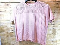 💗MINT💗 ALFRED DUNNER CREW NECK SHORT SLEEVE LACE KNIT SWEATER TOP PINK Wms XL