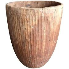 Hand-Carved Ecalyptus Wood Grain Collection Vessel