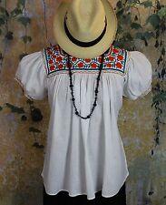 Orange Teal & White Hand Embroidered Blouse Mayan Chiapas Mexico Peasant Hippie