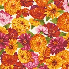 Zinnias and Cosmos Cottage Flowers  Fabric by Robert Kaufman 100% Cotton FQ
