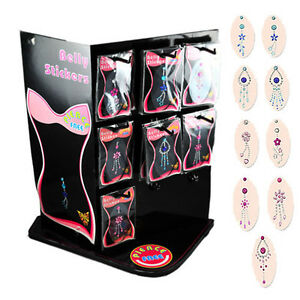 Jeweled Belly Ring Tattoo Sticker Display with 9 Different Designs, 45 Pieces!!