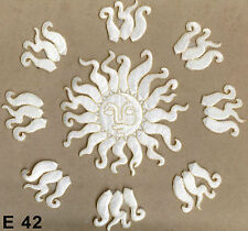 9PC ~ WHITE AND GOLD SUN WITH RAYS ~ IRON ON EMBROIDERED APPLIQUE PATCHES