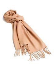 """NEW $34 Womens Cashmink V.Fraas Camel Solid Soft Fringe Long Neck Scarf Wrap 72"""""""