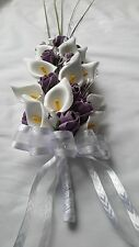 PLUM & WHITE ARTIFICIAL FLOWERS FOR BRIDE / BRIDESMAIDS WEDDING BOUQUET