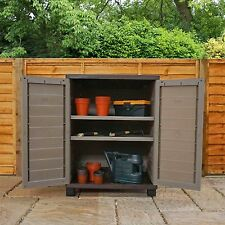 Tall Outdoor Strong Plastic Storage Utility Cabinet Garden Shed ...