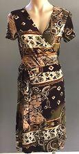 Stylish Design Brown & Khaki TIGHTROPE Paisley Print Stretch Wrap Dress Size 12