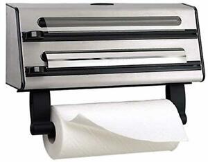 Triple Roll Dispenser Kitchen Wall Aluminium Foil Cling Film Paper Towel Holder