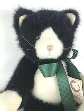 "Sammy Snicklepuss Boyds Bear Stuffed Cat Black White Weighted Bottom 14"" 2002 bf"