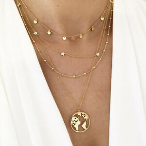 Damen Halskette Anhänger Weltkugel Chocker Vergoldet Bohemian Halskette Collier