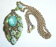 "Blue Stone 2.25"" Pendant Look! Victorian? Necklace Enamel Painted Big Aqua"