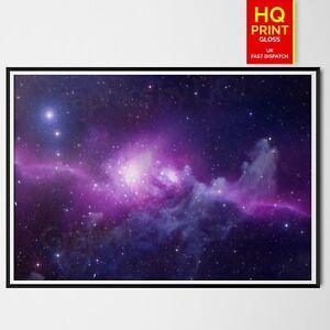 Planet Purple Galaxy Space Universe Poster Sci-Fi Art Print   A4 A3 A2 A1  