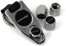 Dodge Stripes Tire Valve Caps Cover ABS Plastic /w Key Chain Chrome