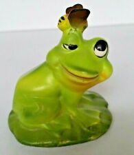 Vintage Josef Originals~Miniature Goofy Green Frog w/ Honey Bee Figurine