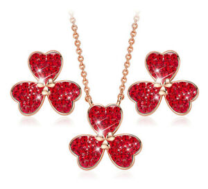 CDE Jewelry Set Clover Necklace Pendant with Swarovski Crystals 18KGP