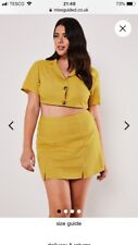 Missguided plus size yellow linen co ord -Shirt and Skirt. Size Uk 16