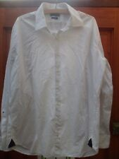 """Mens Tommy Hilfiger White Cotton Shirt Size 43"""" Chest 17"""" Collar Fitted Fit"""