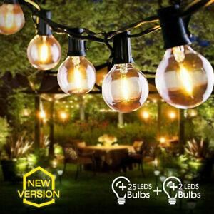 25FT Outdoor Globe String Festoon Lights Mains Powered 25+2 G40 Bulbs Warm White