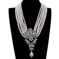 Fashion Crystal Pendant Choker Necklace Pearl Chain Charm Statement Bib Jewelry