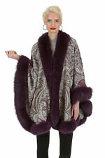 Purple Paisley Fox Fur Trimmed Cashmere Cape for Women - Purple Fox Trim