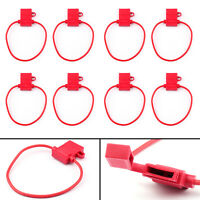 8Pcs Medium Blade Fuse Holder ATC ATO Waterproof 12AWG In-Line Wire Red